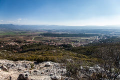 View over vineyards and mountain Sainte Baume in Puyloubier, Provence, Southern France. Royalty Free Stock Photo