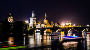 View over the Vltava river and bridges in Prague Royalty Free Stock Photos