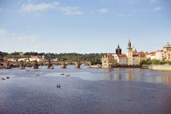 The view over the Vltava river. The view over the Vltava river, Czech Republic, on a clear sunny spring day Stock Images