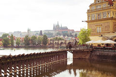 The view over the Vltava river. Scenic spring view of the Old Town ancient architecture and Vltava river in Prague, Czech Republic Stock Photos