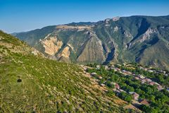 Views from Tatev Cable Car ropeway in Armenia. View over Vorotan River Gorge from Tatev Cable Car ropeway in Armenia, longest aerial tramway in the world Stock Image