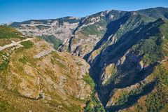 Views from Tatev Cable Car ropeway in Armenia. View over Vorotan River Gorge from Tatev Cable Car ropeway in Armenia, longest aerial tramway in the world Royalty Free Stock Images