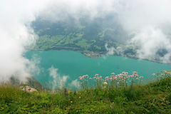 View over Walensee Lake through the clouds Royalty Free Stock Photography