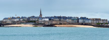 View over the walled city of Saint-Malo from Dinard, Brittany, F. Rance Royalty Free Stock Image