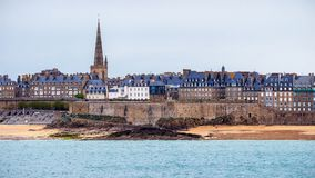 View over the walled city of Saint-Malo from Dinard, Brittany, F. Rance Stock Photos