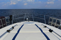 View over the water from bow of a boat Royalty Free Stock Photos