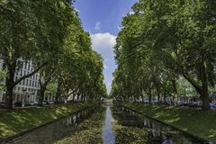 View over the water lined with trees at Königsallee, Dusseldorf, Germany. View over the water lined with trees at Königsallee, Dusseldorf, Germany stock photos