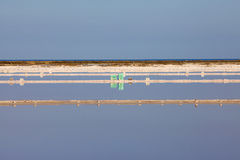 View over water surface of a salt basin Royalty Free Stock Photos