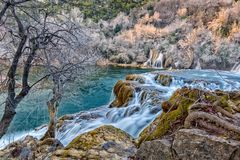 View over the waterfall Skradinski buk. The largest waterfall on river Krka, Skradinski buk. Photo is taken during sunset in spring of 2017 Royalty Free Stock Photo