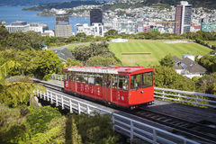 View over  Wellington. Skyline and cable car of Wellington Royalty Free Stock Images