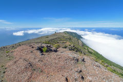 View over the west of El Hierro. Look over the elongated mountain ridge in the west of El Hierro, Canary Islands, Spain, on which the pilgrims way Camino de la royalty free stock photo