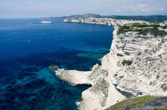 View over the white limestone cliffs of Bonifacio in Corsica, France, Europe royalty free stock images
