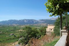 View over the wine garden in Rioja. View from a village high over the Rioja´s viticulture Royalty Free Stock Photo