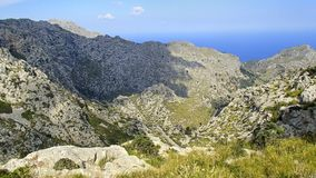 View over the wonderful hiking area in the Tramuntana mountains Stock Photos