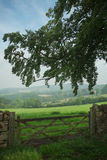 View over wooden gate across the English Countryside Royalty Free Stock Photography