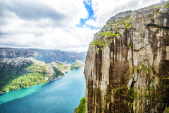 View over the world famous Preikestolen - or pulpit rock - over the Lysefjord. Stock Photo