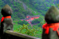 View Over Wudang Shan Temple. View over the wall of the Wudang Shan Temple in the Hubei district of China Royalty Free Stock Images