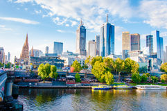 View over Yarra River and City Skyscrapers in Melbourne, Australia Royalty Free Stock Photo