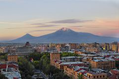 Yerevan, capital of Armenia at the sunrise with the two peaks of the Mount Ararat on the background. View over Yerevan and Ararat Mountains, Armenia Stock Images