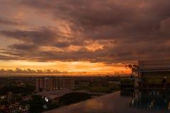 View over Yogyakarta at sunset.  Royalty Free Stock Photos