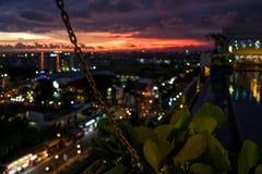 View over Yogyakarta at sunset.  Stock Photo