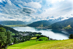 View over Zeller See lake. Zell Am See, Austria, Europe. royalty free stock image