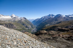 Zermatt from above. View over Zermatt and alps from high above Royalty Free Stock Images