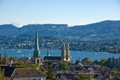 View over Zurich with the alps Royalty Free Stock Photos