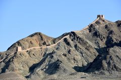 View of the Overhanging Great Wall at Jiayuguan, China royalty free stock images