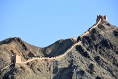 View of the Overhanging Great Wall at Jiayuguan, China stock photo