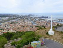 View overlooking city in southern France. A view of the city of Sete in southern France from Mont Saint Clair stock images