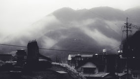 View overlooking the mountain in morning haze Stock Images