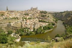 View overlooking the Tagus River and Toledo, Spain Stock Photo