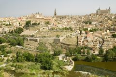 View overlooking the Tagus River and Toledo, Spain Royalty Free Stock Photography