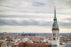 View overlooking the town of Munich with St. Peter's Church in the foreground. Stock Photography