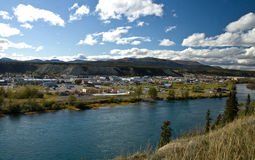 View overlooking the Yukon River and the city of Whitehorse. Yukon, Canada Royalty Free Stock Photo