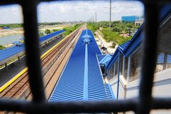 View from overpass in train station, FL Royalty Free Stock Images
