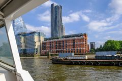 View of the Oxo building on the southbank of the Thames. South Bank, London, UK - June 8, 2018: view of the Oxo building on the Southbank of the river Thames royalty free stock photography