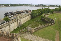 View from the Ozama Fortress to the Ozama river delta in Santo Domingo, Dominican Republic. Royalty Free Stock Photo