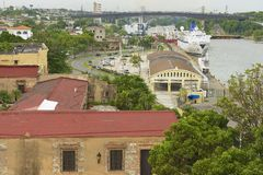 View from the Ozama Fortress to the Ozama river side in Santo Domingo, Dominican Republic. Stock Photos