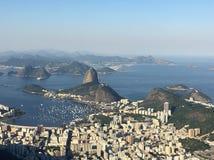 View Pão de Açúcar redentor Cristo Ρίο ντε Τζανέιρο Στοκ Εικόνες