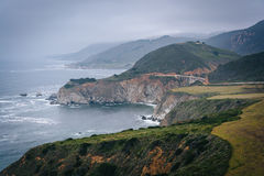View of the Pacific Coast and  Bixby Creek Bridge, in Big Sur, C Royalty Free Stock Image