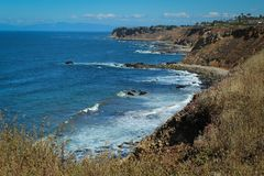 View of the Pacific Coast from the Cliffs of the Palos Verdes Peninsula, Los Angeles, California. View looking south from the Bluff Trail on the cliffs of the royalty free stock photography