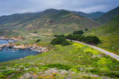 View of Pacific Coast Highway and mountains   Stock Photo