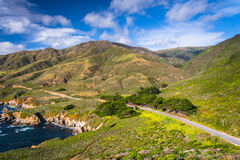 View of Pacific Coast Highway and mountains   Royalty Free Stock Photos