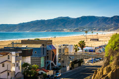 View of Pacific Coast Highway and the Santa Monica Mountains. From Palisades Park, in Santa Monica, California stock photos