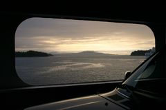 Ferry Crossing At Sunrise Stock Photos