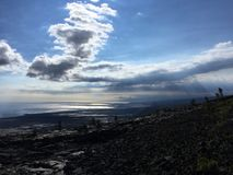 View of Pacific Ocean from Chain of Craters Road at Hawaii Volcanoes National Park on Big Island, Hawaii. View of Pacific Ocean from Chain of Craters Road at royalty free stock image