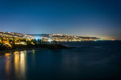 View of the Pacific Ocean and Laguna Beach at night  Royalty Free Stock Photos