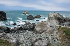 View of the Pacific Ocean at Patrick`s Point State Park near Trinidad, California royalty free stock image